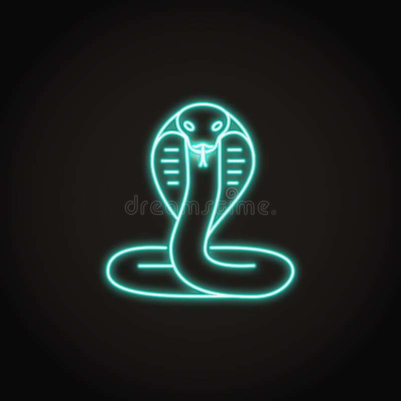 Kobraormsymbol i glödande neonstil stock illustrationer