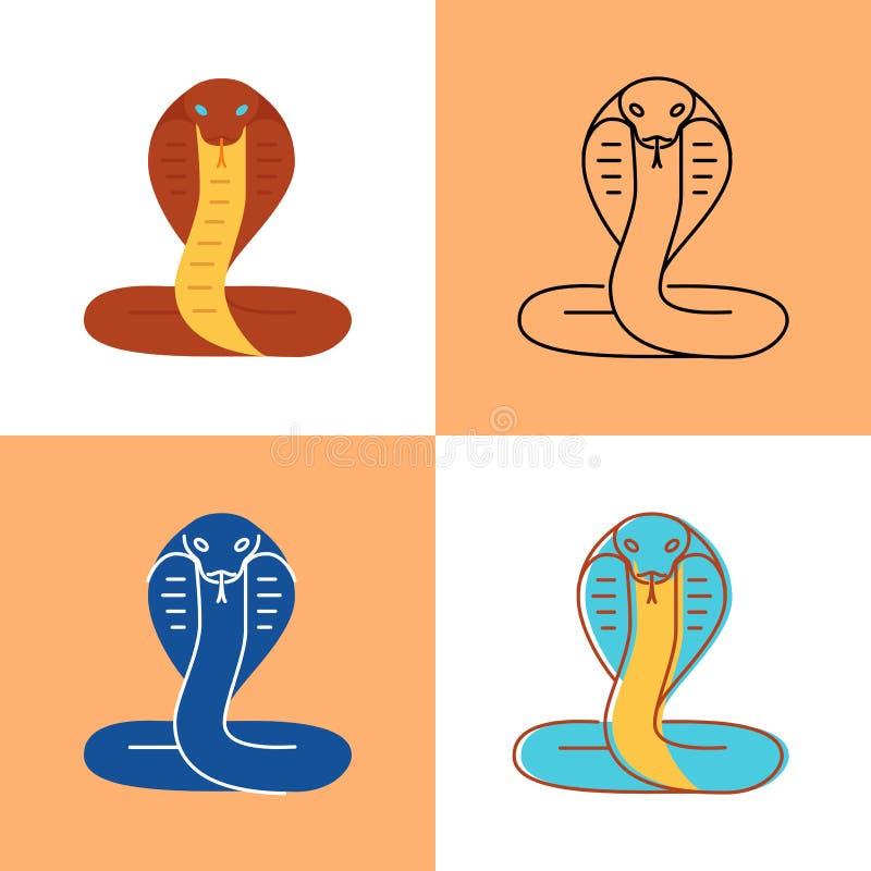 Kobraormsymbolen ställde in i lägenheten och linjen stilar royaltyfri illustrationer