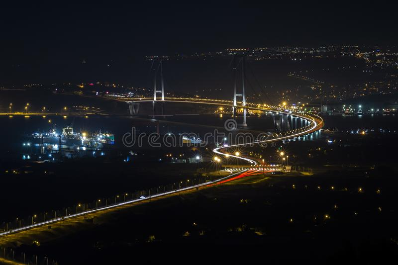Osman Gazi Bridge in Kocaeli, Turkey. Stock, architecture. Kocaeli, Turkey - 04 August 2018: Newly constructed Osman Gazi Bridge which is crossing the sea of royalty free stock image