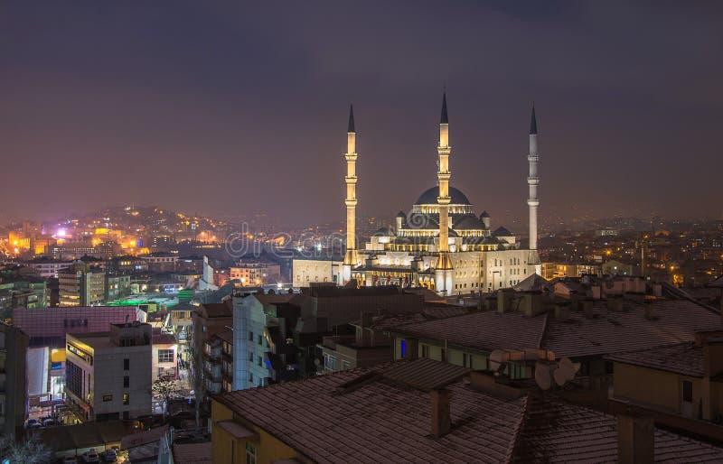 Kocatepe meczet w Ankara, Turcja przy nighttime Noc krajobraz Ankara obraz royalty free