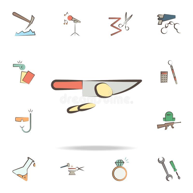 Koch bearbeitet Ikone Ausführlicher Satz Werkzeuge von verschiedenen Berufikonen Erstklassiges Grafikdesign Eine der Sammlungsiko stock abbildung