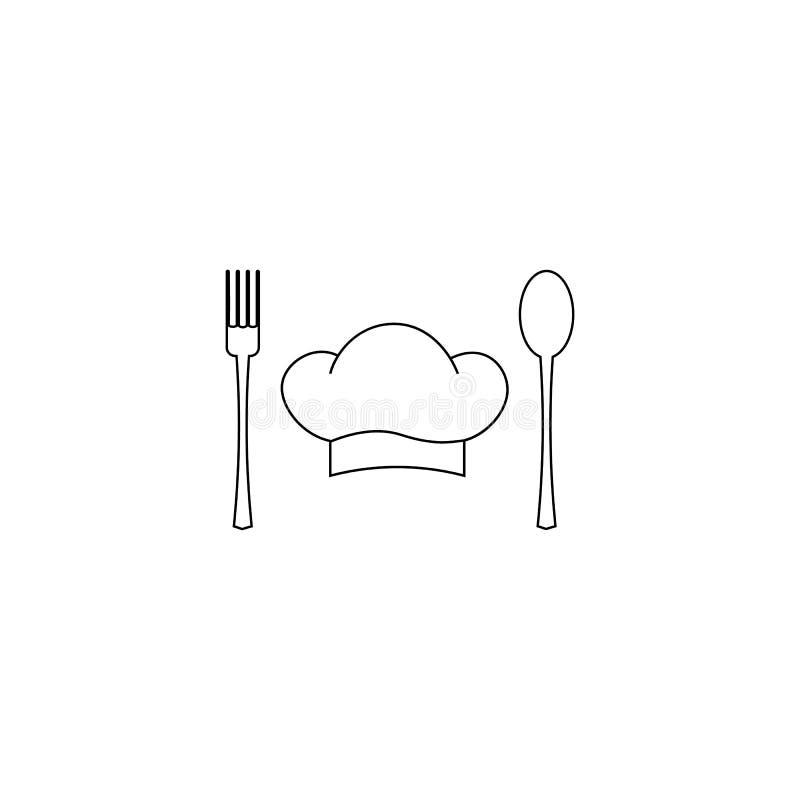 Koch, Cheflogo oder Aufkleber Illustration für Designmenürestaurant oder -café Auch im corel abgehobenen Betrag stock abbildung