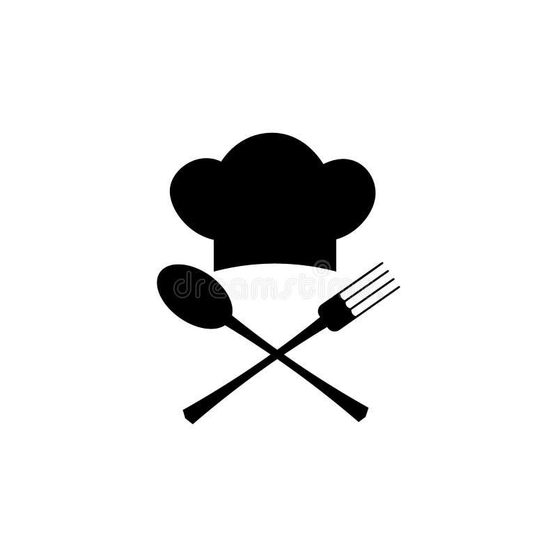 Koch, Cheflogo oder Aufkleber Illustration für Designmenürestaurant oder -café Auch im corel abgehobenen Betrag lizenzfreie abbildung