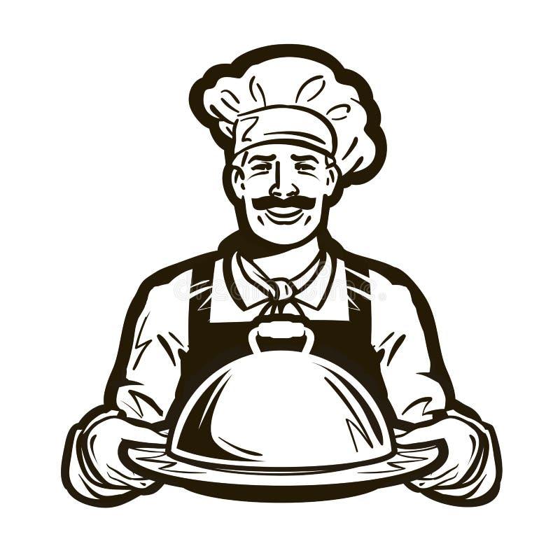 Koch, Chefvektorlogo Restaurant, Café oder Teller, Mahlzeit, Lebensmittelikone vektor abbildung