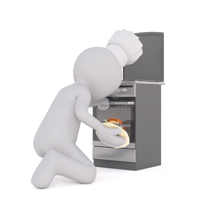 Koch, der den Ofen öffnet lizenzfreie abbildung