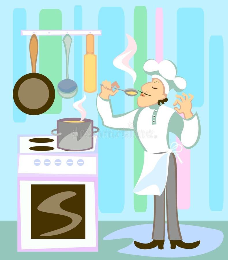 Koch in der Küche stock abbildung
