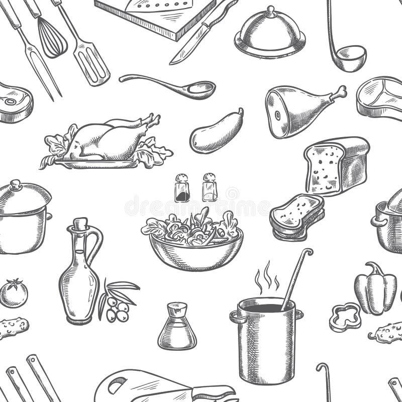 Koch, Küche, Bestandteile und Ausrüstung nahtlos vektor abbildung
