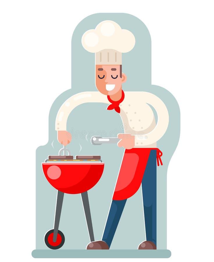 Koch kocht Design-Vektorillustration des Grillfleisches flache vektor abbildung