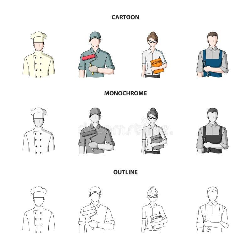 Koch, Maler, Lehrer, Bauschlossermechaniker Gesetzte Sammlungsikonen des Berufs in der Karikatur, Entwurf, einfarbiger Artvektor stock abbildung