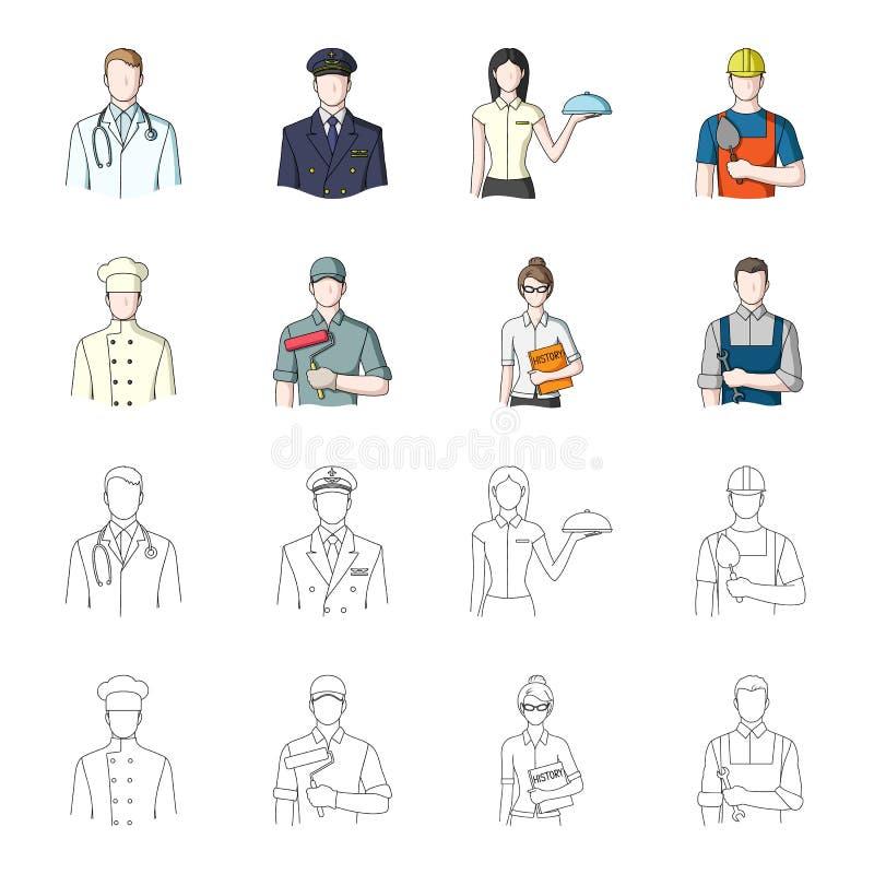 Koch, Maler, Lehrer, Bauschlossermechaniker Gesetzte Sammlungsikonen des Berufs in der Karikatur, Entwurfsartvektor-Symbolvorrat stock abbildung