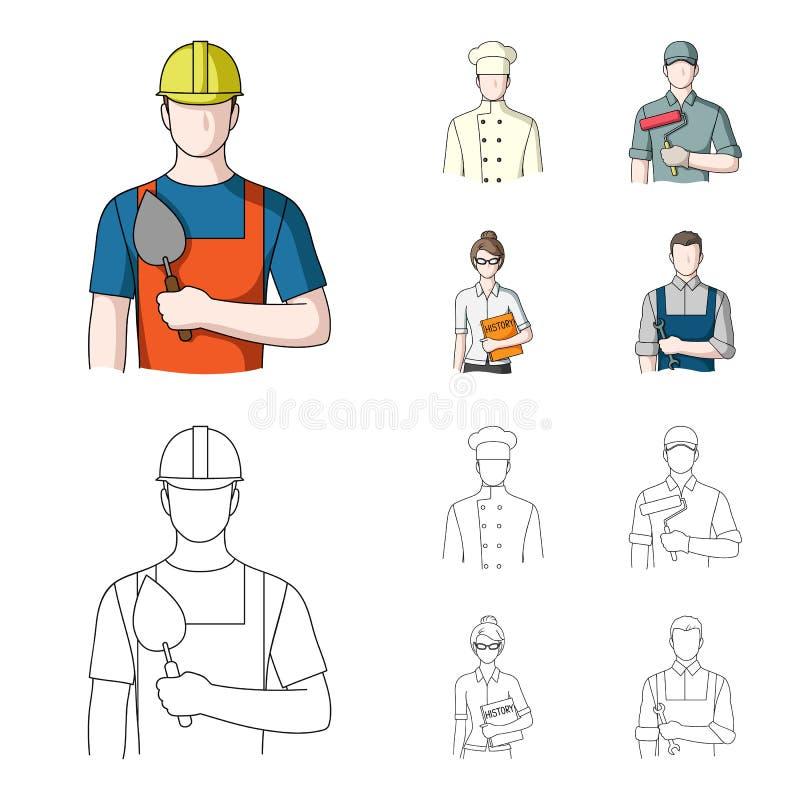 Koch, Maler, Lehrer, Bauschlossermechaniker Gesetzte Sammlungsikonen des Berufs in der Karikatur, Entwurfsartvektor-Symbolvorrat vektor abbildung