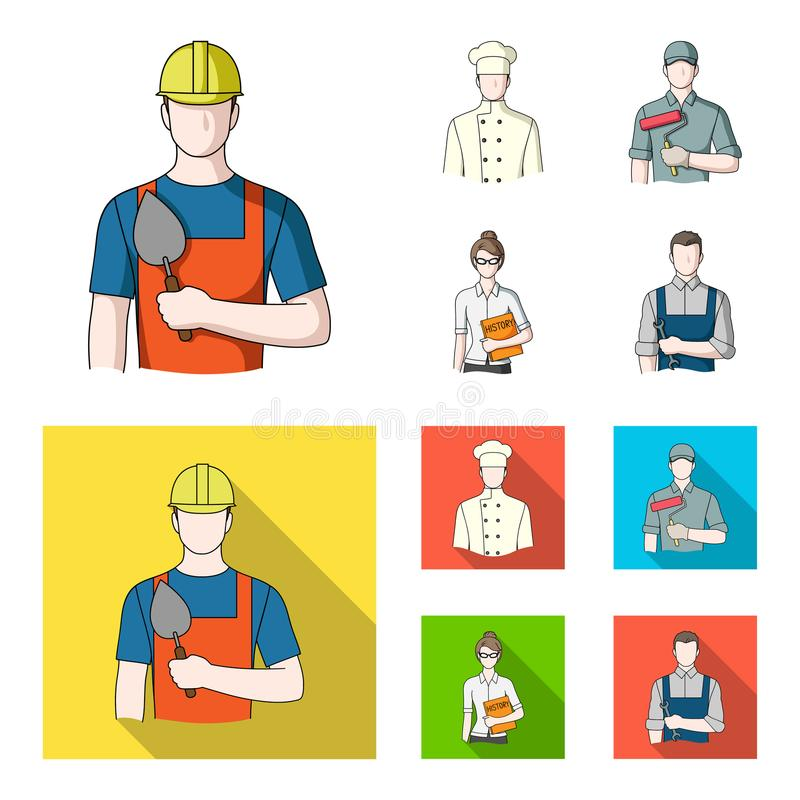 Koch, Maler, Lehrer, Bauschlossermechaniker Gesetzte Sammlungsikonen des Berufs in der Karikatur, flacher Artvektor-Symbolvorrat lizenzfreie abbildung