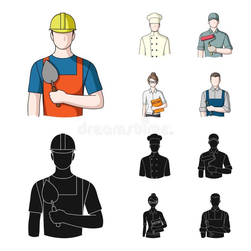 Koch, Maler, Lehrer, Bauschlossermechaniker Gesetzte Sammlungsikonen des Berufs in der Karikatur, schwarzer Artvektor-Symbolvorra stock abbildung