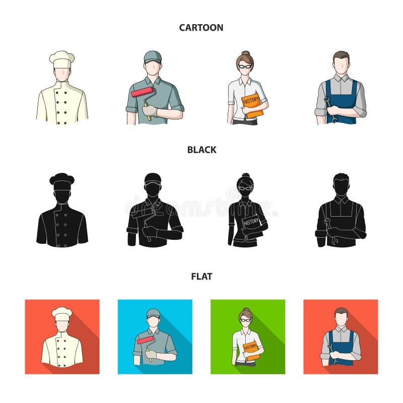Koch, Maler, Lehrer, Bauschlossermechaniker Gesetzte Sammlungsikonen des Berufs in der Karikatur, Schwarzes, flaches Artvektorsym vektor abbildung