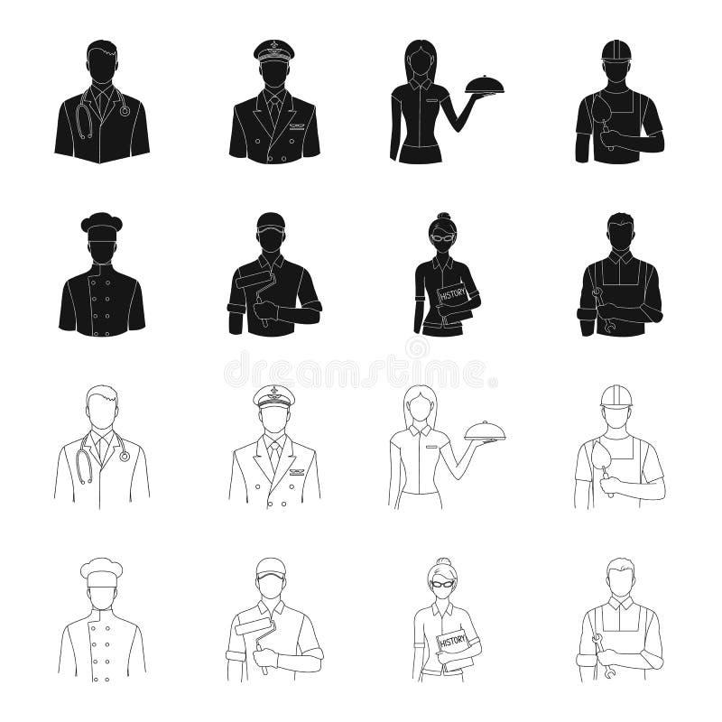 Koch, Maler, Lehrer, Bauschlossermechaniker Gesetzte Sammlungsikonen des Berufs im Schwarzen, Entwurfsartvektor-Symbolvorrat stock abbildung