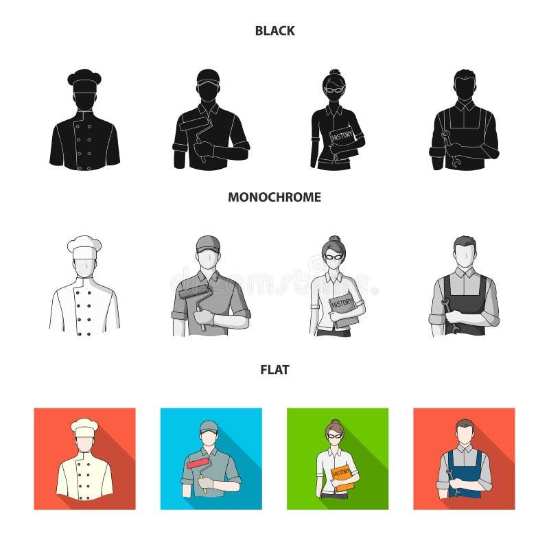 Koch, Maler, Lehrer, Bauschlossermechaniker Gesetzte Sammlungsikonen des Berufs im schwarzen, flachen, einfarbigen Artvektor lizenzfreie abbildung