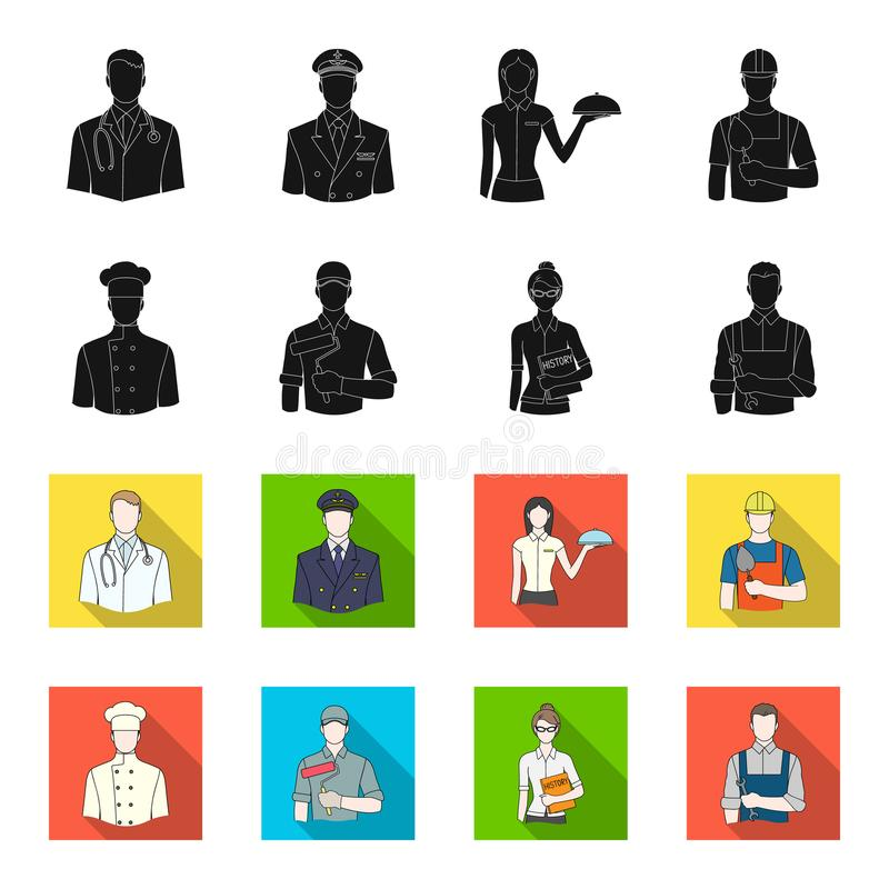 Koch, Maler, Lehrer, Bauschlossermechaniker Gesetzte Sammlungsikonen des Berufs im Schwarzen, flet Artvektor-Symbolvorrat stock abbildung