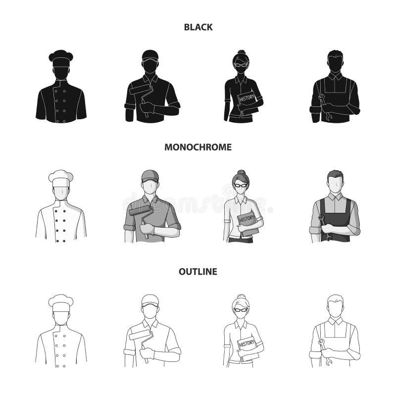 Koch, Maler, Lehrer, Bauschlossermechaniker Gesetzte Sammlungsikonen des Berufs in Schwarzem, einfarbig, Entwurfsartvektor stock abbildung