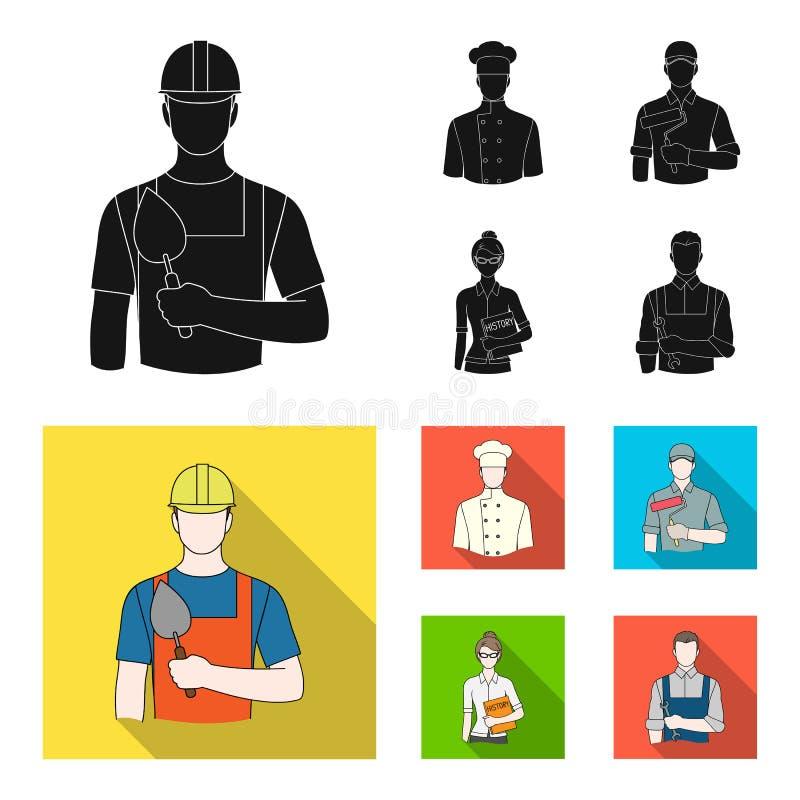 Koch, Maler, Lehrer, Bauschlossermechaniker Gesetzte Sammlungsikonen des Berufs schwarzes, flaches Artvektorsymbolauf lager vektor abbildung