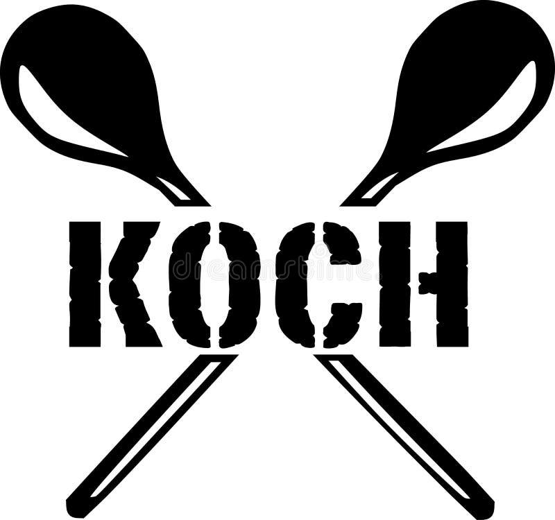 Koch mit gekreuzten Löffeln stock abbildung