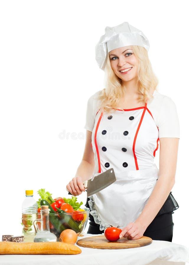 Koch mit Gemüse stockbild