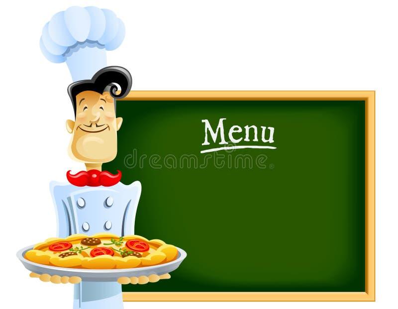 Koch mit Pizza und Menü lizenzfreie abbildung