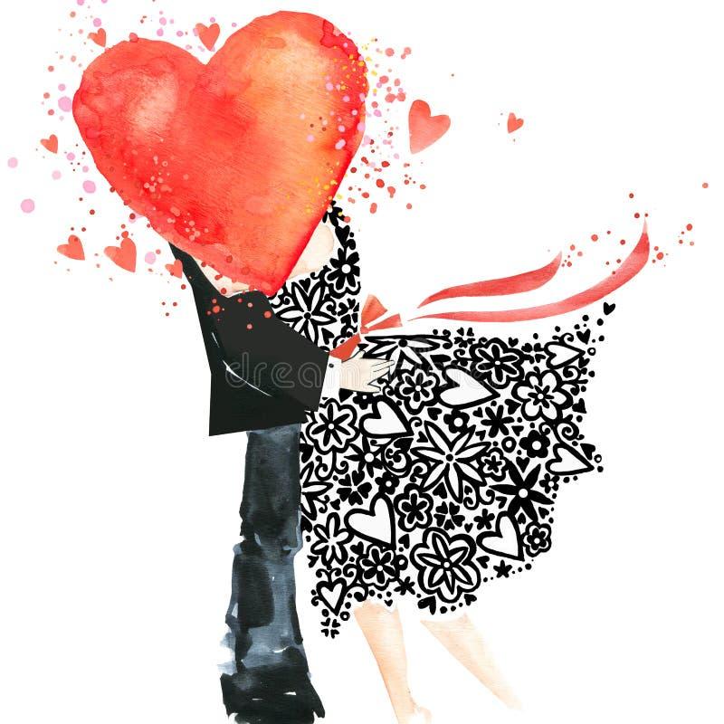 Kocha ciebie akwareli karta buziak stary pocałować kobietę ilustracji