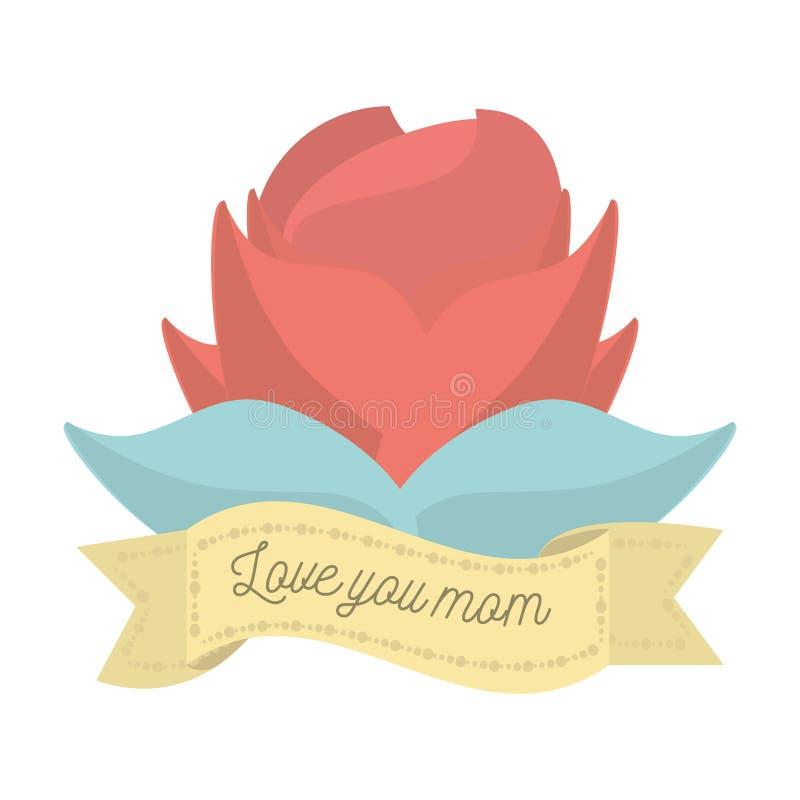 Kocha ciebie mama kwiatu ornamentu czerwona dekoracja ilustracja wektor