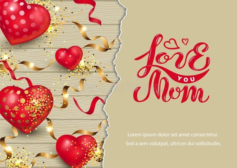 Kocha Ciebie mama na drewnianym tle z sercami, złoci confetti, papieru prześcieradło ilustracji