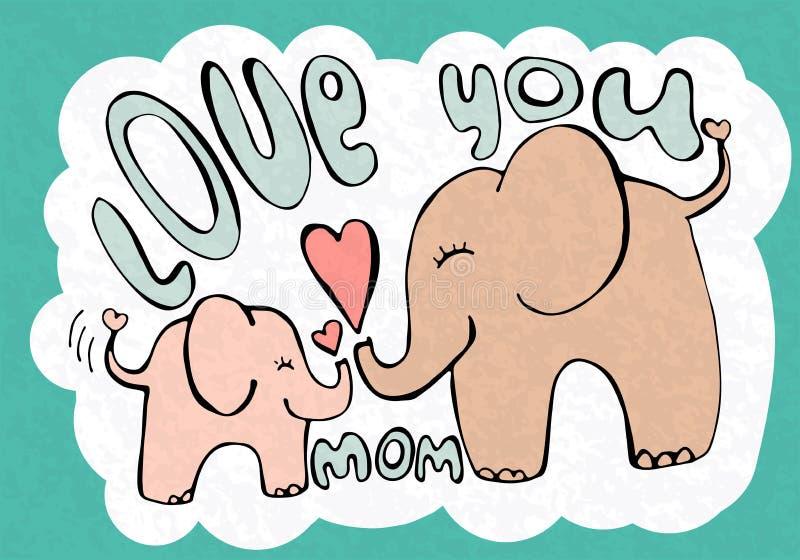Kocha ciebie mama, powitanie karta z ślicznymi zwierzętami, matka dzień ilustracji