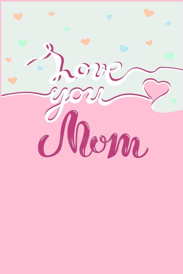 Kocha Ciebie mama tekst na ślicznym tle royalty ilustracja