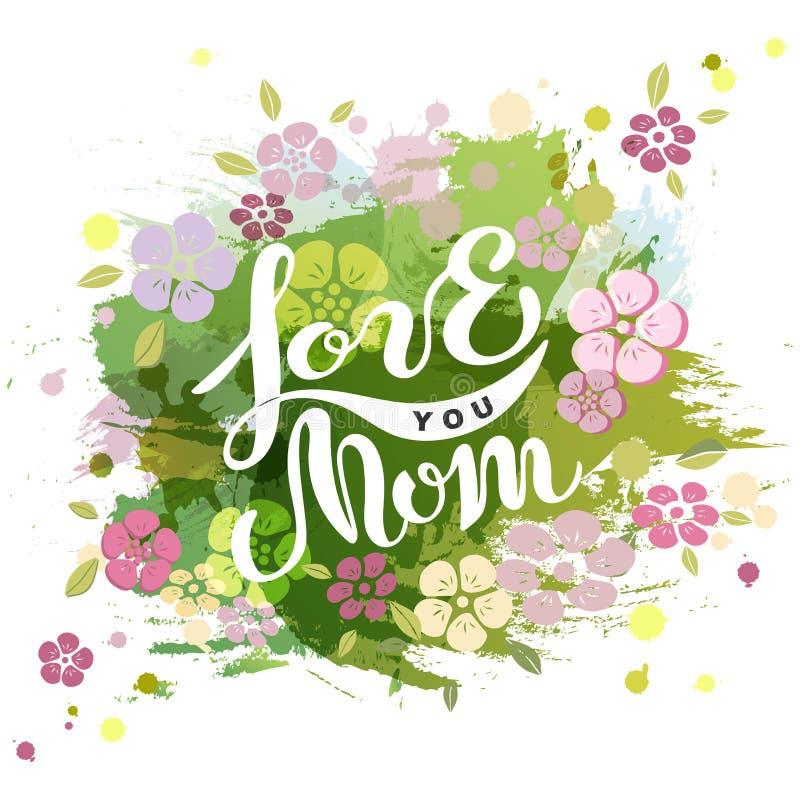 Kocha Ciebie mama tekst odizolowywający na akwareli tle ilustracji