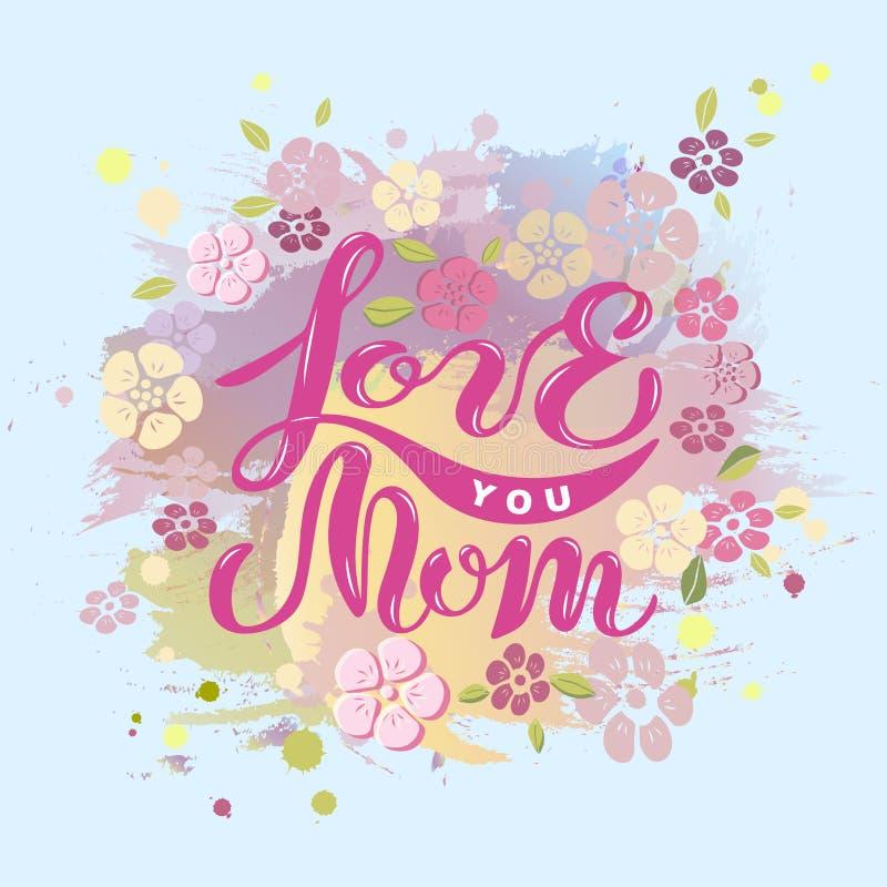 Kocha Ciebie mama tekst odizolowywający na pastelowego koloru tle royalty ilustracja