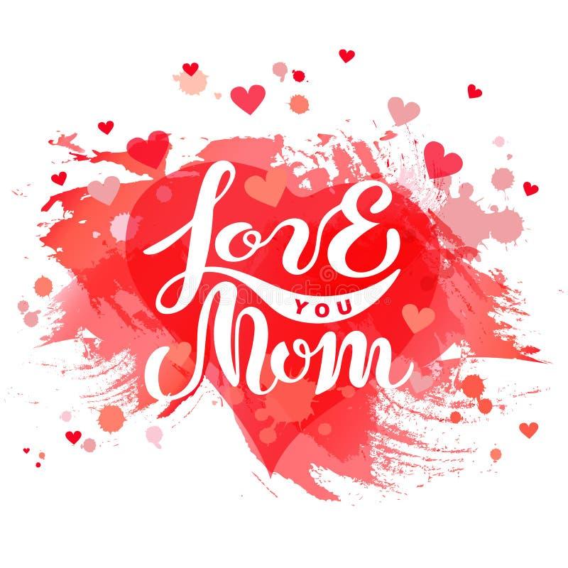 Kocha Ciebie mama tekst odizolowywający na tle z czerwonym sercem royalty ilustracja