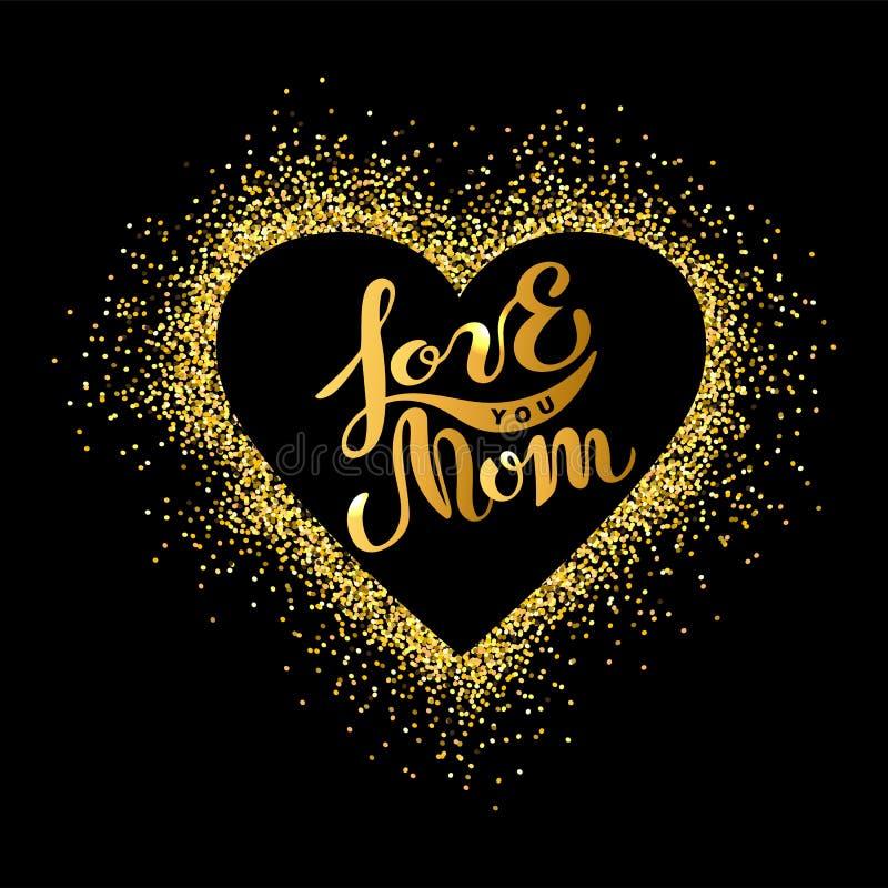 Kocha Ciebie mama tekst odizolowywający na tle z złotym sercem royalty ilustracja