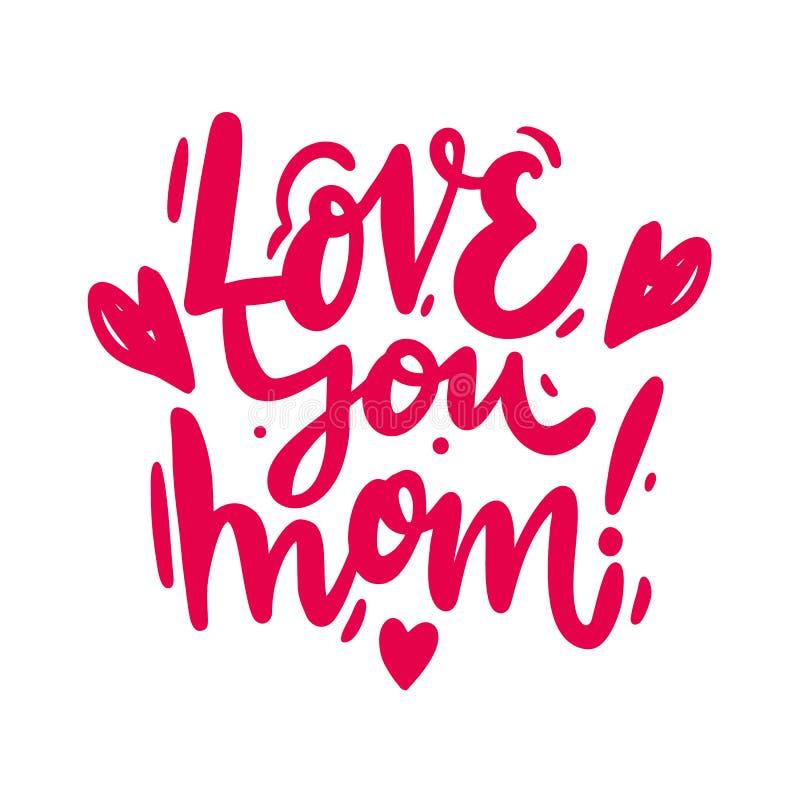 Kocha ciebie mama zwrot Ręka rysującej matki dnia tło Wektorowy literowanie royalty ilustracja