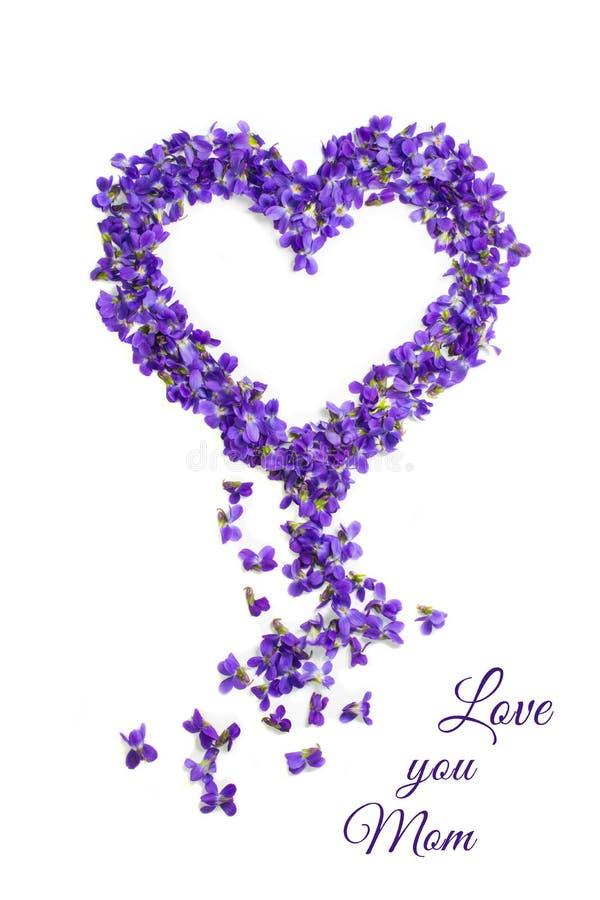 Kocha ciebie mamy karta dzie? kwiat daje mum syna matkom Kierowi kszta?t?w kwiaty Fio?ek mi?o?ci symbol odizolowywaj?cy na bia?ym royalty ilustracja
