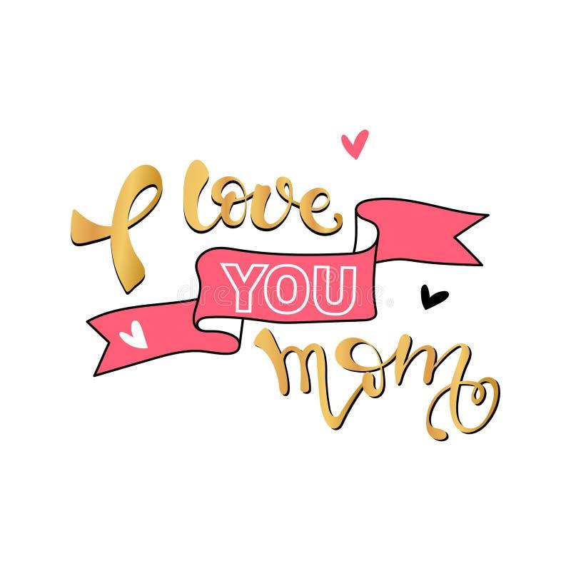 Kocha ciebie mamy karta Ręka rysującej matki dzień ilustracji