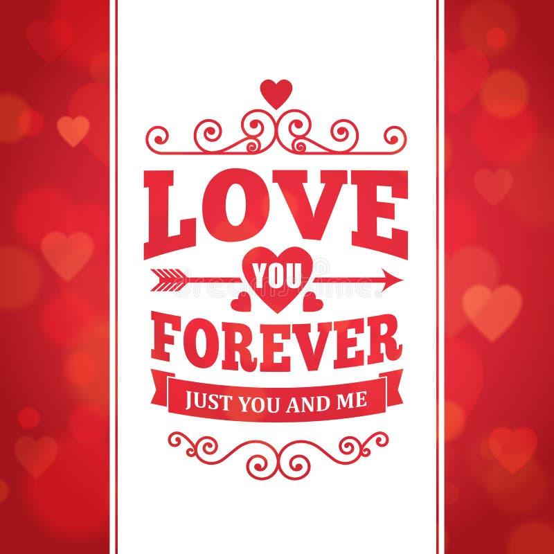 Kocha ciebie na zawsze typografii kartka z pozdrowieniami tła plakat ilustracja wektor
