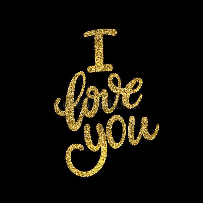 Kocha Ciebie, ręka pisać literowanie Romantyczna kaligrafia obrazy royalty free