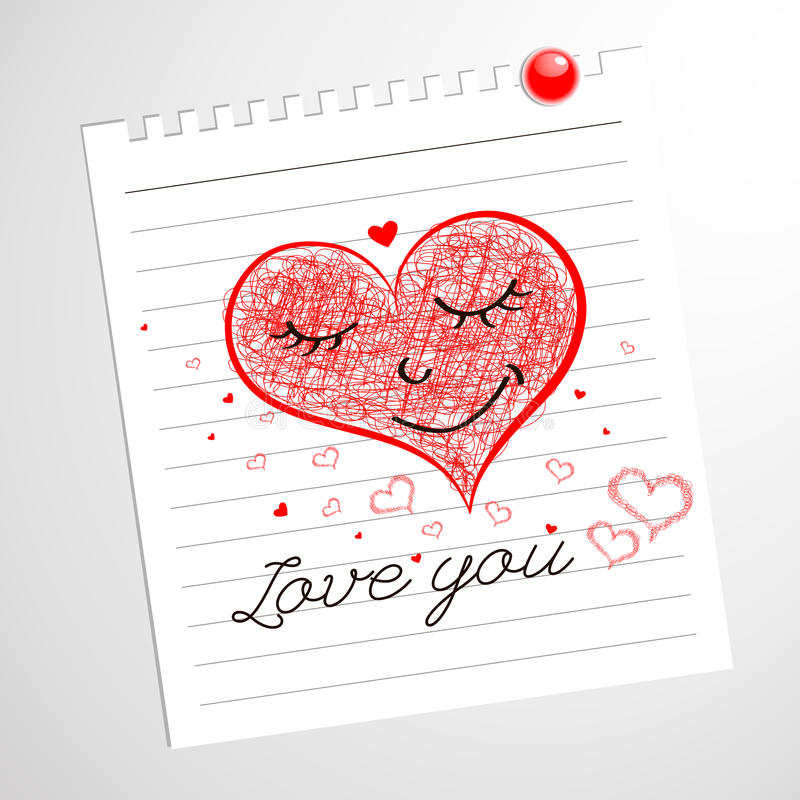 Kocha ciebie, serce notatnika Szkicowi Doodles ilustracji
