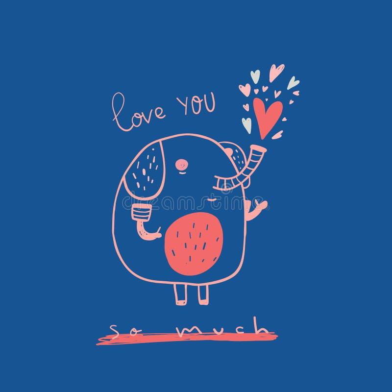 Kocha ciebie Tak Dużo kartka z pozdrowieniami z ślicznym kreskówka słoniem Walentynki miłości plakata pojęcie Całowanie charakter royalty ilustracja
