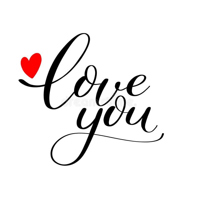Kocha ciebie tekst z czerwonym sercem ilustracja wektor