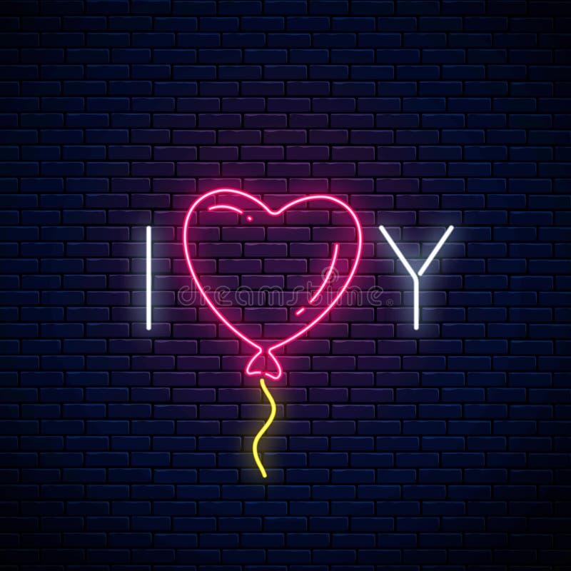 Kocha ciebie tekst z kierowym baloon w neonowym stylu Szczęśliwy walentynka dnia neonowy rozjarzony świąteczny znak 3d amerykanin ilustracja wektor