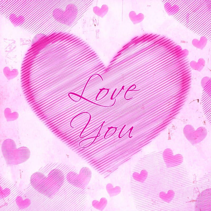 Kocha ciebie w pasiastym sercu na różowym starym papierze ilustracji
