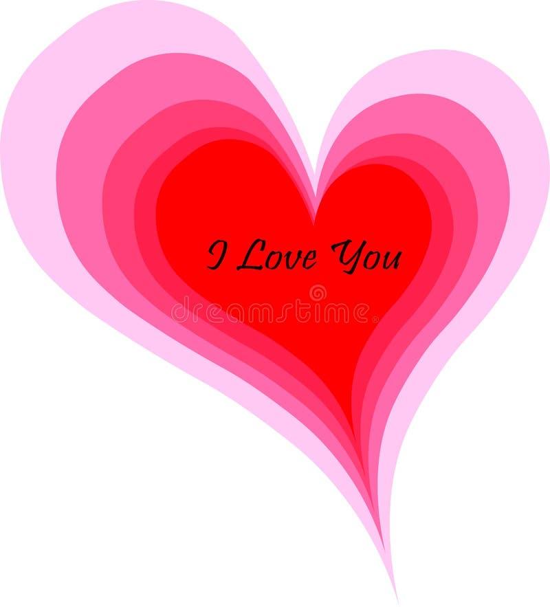 Kocha ciebie wiadomość w kombinaci różowawi serca zdjęcie stock