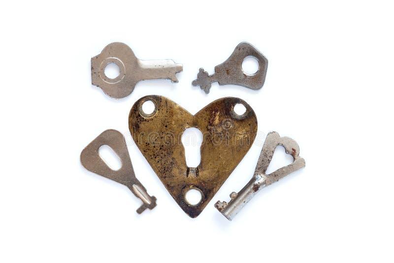 Kocha kierowego keyhole z kluczami na białym tle fotografia stock