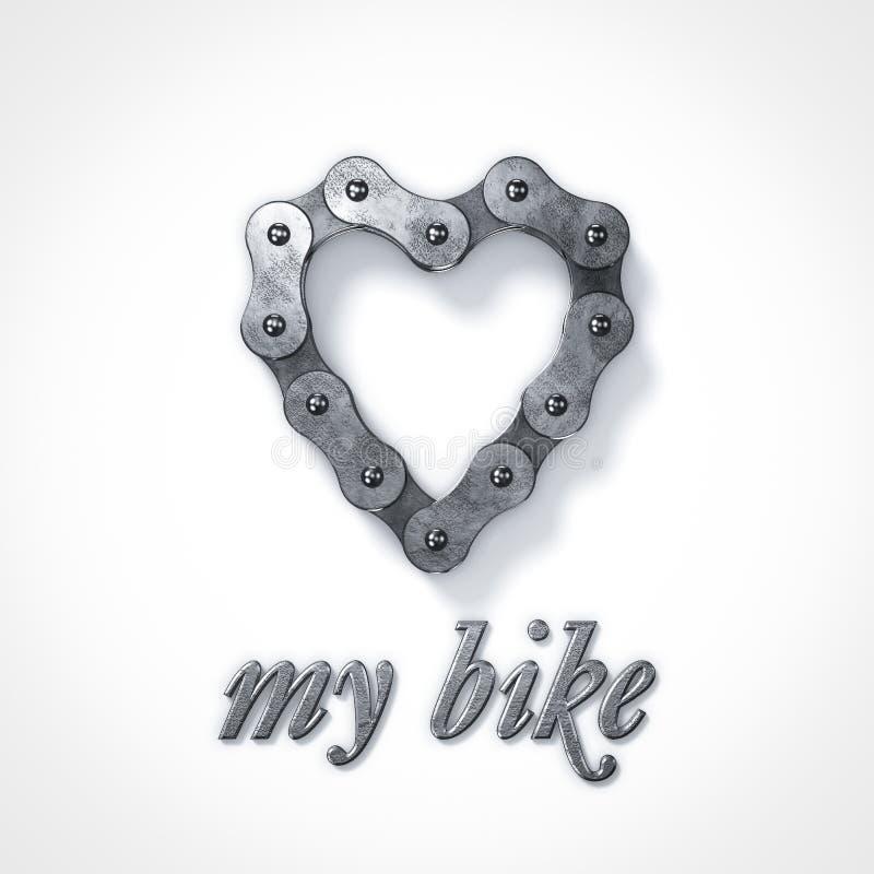 Kocha mój roweru serca łańcuch obraz stock