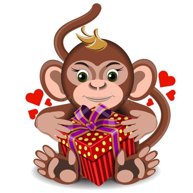 Kocha pluszowej zabawki małpy z pudełkowatym prezentem ilustracja wektor