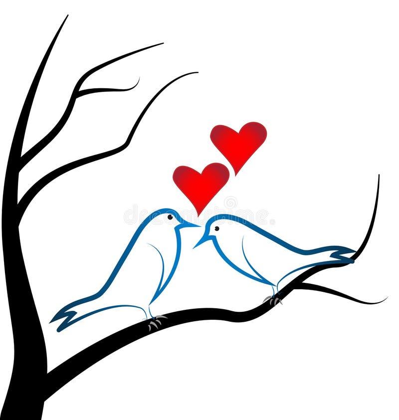 Kocha ptaki umieszczających na gałęziastej drzewnej Kierowej miłości royalty ilustracja